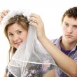 Trying on the wedding veil — Stock Photo