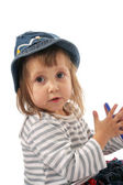 Baby in jeans hat — Stock Photo