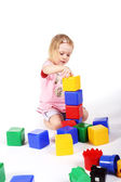 Playing with bricks — Stock Photo