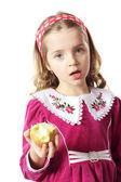 Chica con una manzana — Foto de Stock
