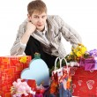 Guy and gifts — Stock Photo