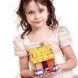 Little girl with little house — Stock Photo #5729767