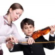 Stock Photo: Teaching to play a violin