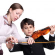 Stock Photo: Teaching to play violin