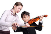 Teaching to play a violin — Stock Photo