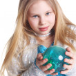 Girl with the blue ball — Stock Photo #5839086