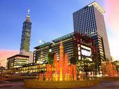 Nightfall and modern buildings — Stock Photo