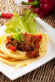 Hungarian goulash with macaroni pasta — Stock Photo