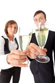 Business couple with champage — Stock Photo