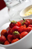 Ingredients of rhubarb and strawberry jam — Stock Photo