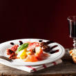 Mixed italian antipasti on a plate with wine — Stockfoto