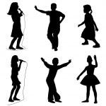 Kids singing dancing — Stock Vector #5603748