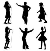 Kids singing dancing — Stock Vector