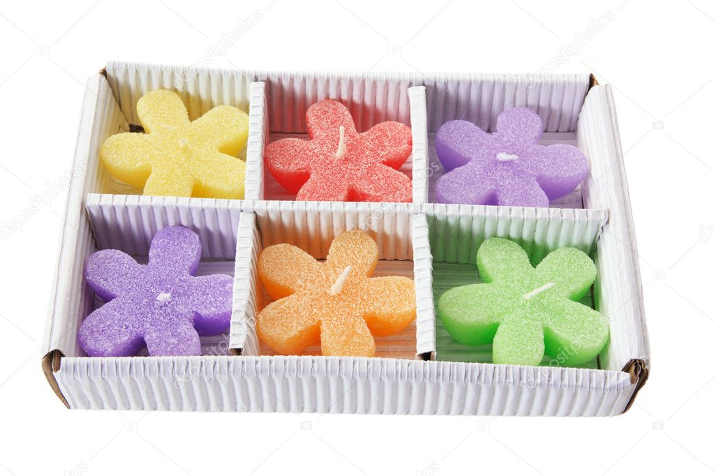 Box of Colourful Candles on White Background — Stock Photo #5679953