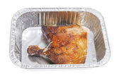 Roast Chicken in Foil Tray — Stock Photo
