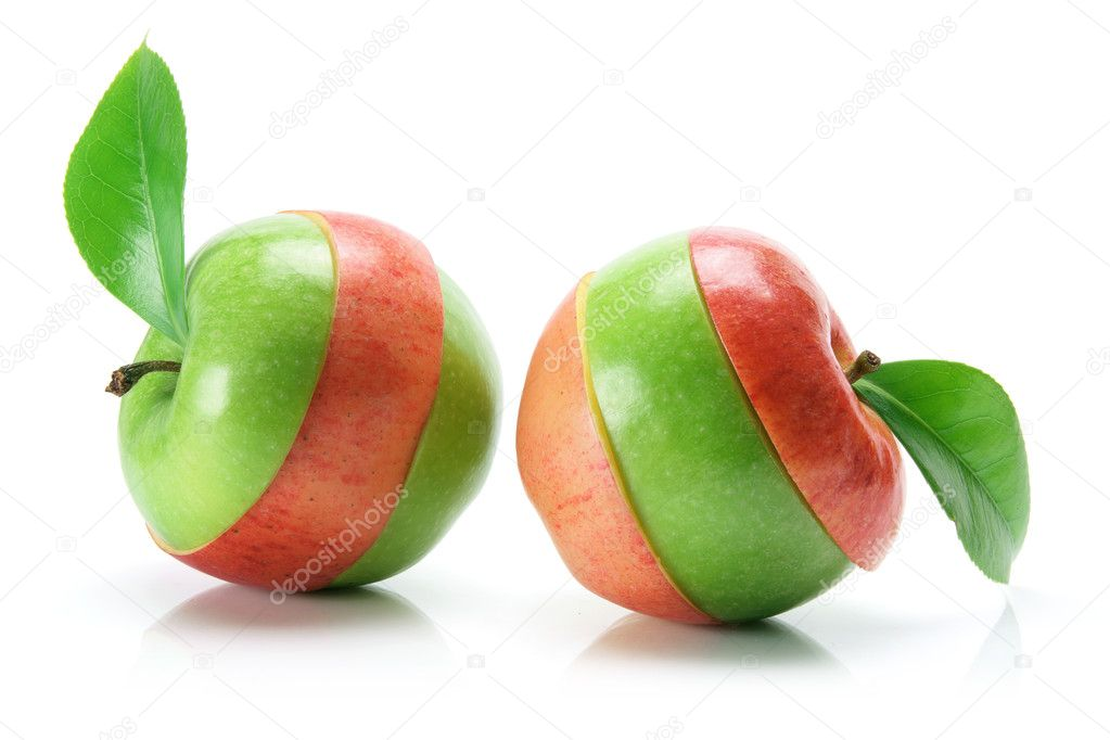 Granny Smith and Gala Apples on White Background — Stock Photo #5777868
