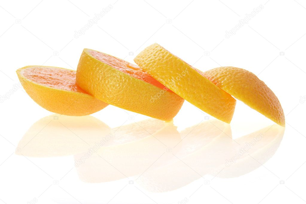Slices of Orange on White Background  Stock Photo #5787082