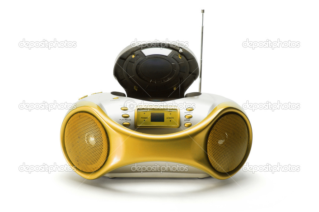 Portable Radio and CD Player on White Background — Stock Photo #5829544