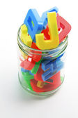 Alphabets in Jar — Stock Photo