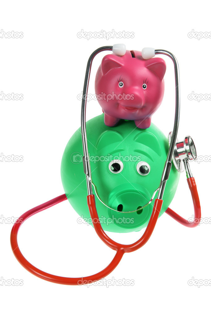 Piggy Bank and Stethoscope on White Background — Stock Photo #6410615
