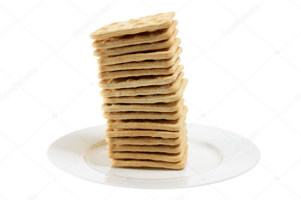 Cracker Biscuits on Plate with White Background  Stock Photo #6529462