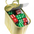 Stock Photo: Dice in Tin Can