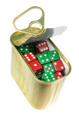 Dice in Tin Can — Stock Photo