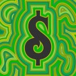 Stock Vector: Groovy Money - Green Dollar