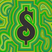 Groovy Money - Green Dollar — Stock Vector