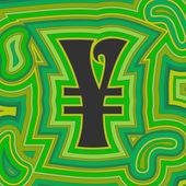 Yen dinero groovy - verde — Vector de stock