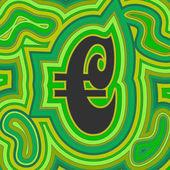 Groovy Money - Green Euro — Vector de stock