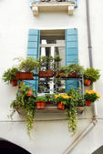 Terrace and window with flowerpots — Stock Photo