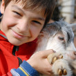 Teenage boy with goatling — Stockfoto