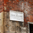 Street name board Via Dante Allighieri in Verona — Stock Photo