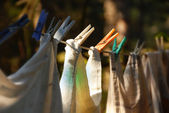 Drying laundry line — Stock Photo