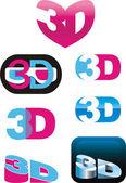 3D logos — Stock Vector