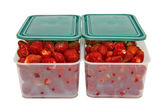 The ripe strawberries in two boxes with lids_1 — Stock Photo