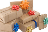 Gift boxes with different ribbon — Stock Photo
