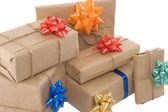 Geschenk-boxen mit verschiedenen band — Stockfoto