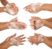 Washing her hands — Stock Photo