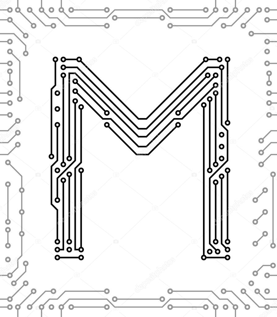 alphabet of printed circuit boards  u2014 stock vector  u00a9 ivn3da