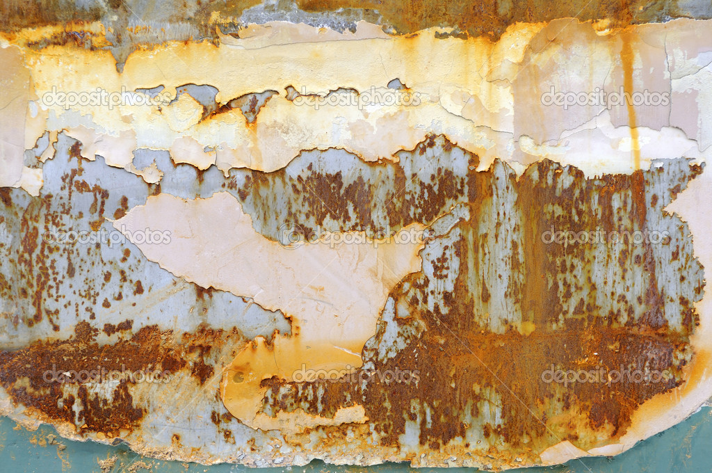 Peeling paint on rusty metal plate as background — Stock Photo #5494809
