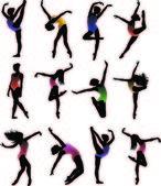 Dance girl ballet silhouettes vector — Stock Vector