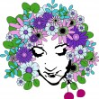 Beautiful girl with flowers in hair — Stock Vector