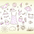 Beach accessories - cute vector set — Stock Vector