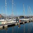 Luxury Yachts in Weymouth Harbour in Dorset - Stock Photo