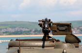 World War 2 Machine gun on green tank — Foto Stock