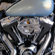Beautiful chrome engine of custom chopper motorbike — Stock Photo
