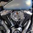Beautiful chrome engine of custom chopper motorbike - Stock Photo