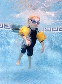 年轻的男孩跳进游泳池 — 图库照片